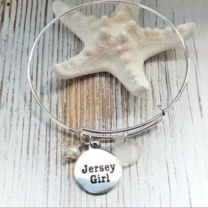 Sea Glass And Pearl Jersey Girl Charm Bracelet